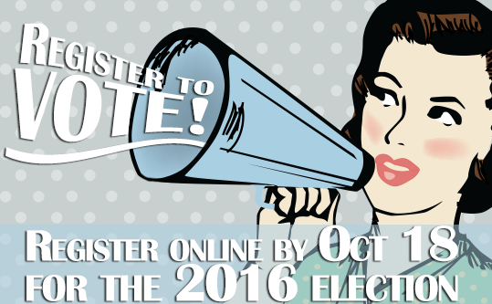 Register to vote online by October 18