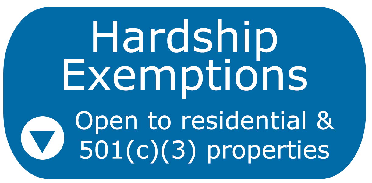 Hardship Exemptions are open to residential & 501(c)(3) properties