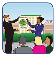 Graphic of a business receiving a Certified Green Business certificate.
