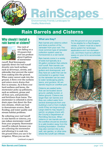 Image of the front of the RainScapes Rain Barrel and Cisterns Guide