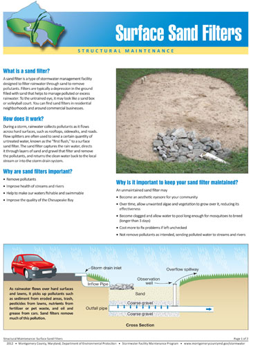 Image of the front of the Structural Sand Filter Maintenance Fact Sheet.