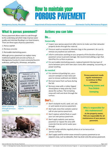 Image of the front of the Permeable/Porous Pavement Maintenance Fact Sheet.