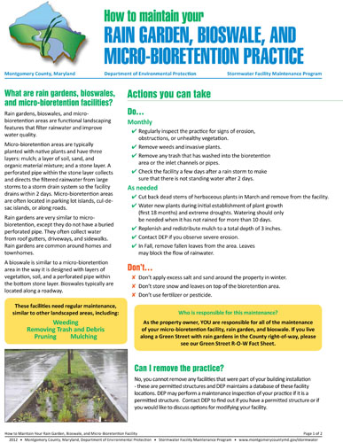 Image of the front cover of the rain garden and bioswale maintenance fact sheet.