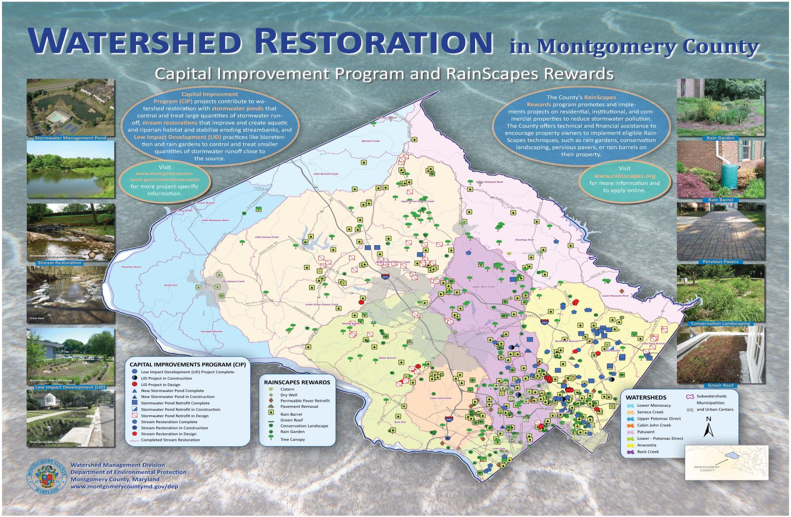 Poster of the watershed restoration program and RainScapes project locations