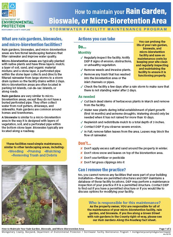 Download the How to Maintain Your Rain Garden, Bioswale and Micro-bioretention Practice guide