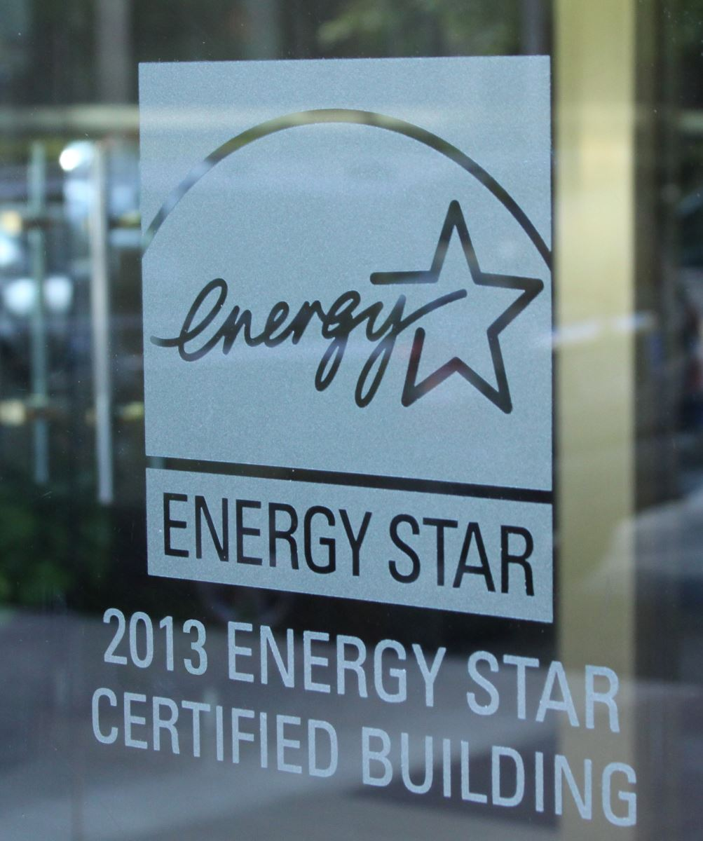 Image of an ENERGY STAR logo etched on a glass window