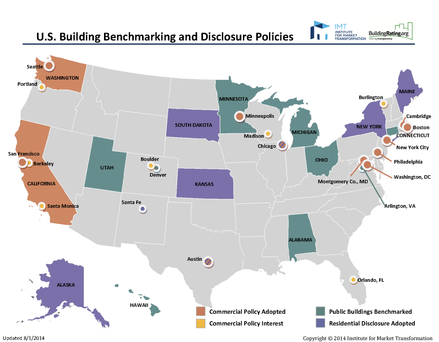 Image of map of U.S. states, cities and counties that have building benchmarking and disclosure policies as of August 8, 2014.