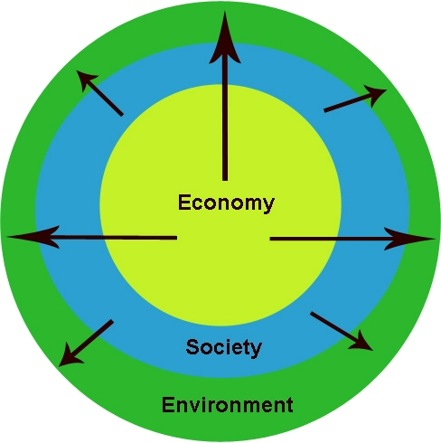Graphical representation of the impacts of expanding economic growth and society on environment.
