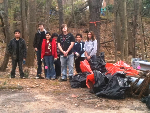 Northwood High School volunteers with the trash they picked up in the park