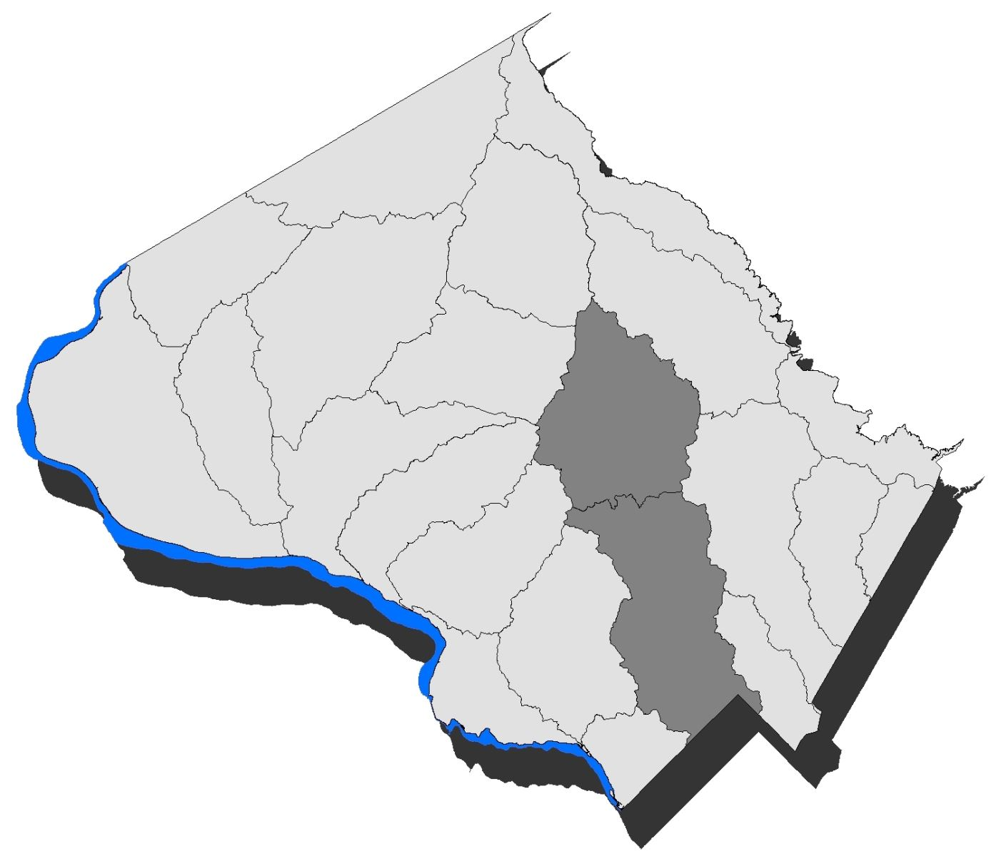 Map of Montgomery County with the Rock Creek watershed highlighted