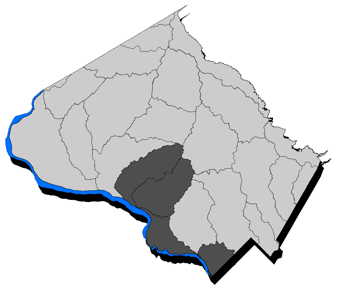 Map of the County with the Lower Potomac Direct highlighted.