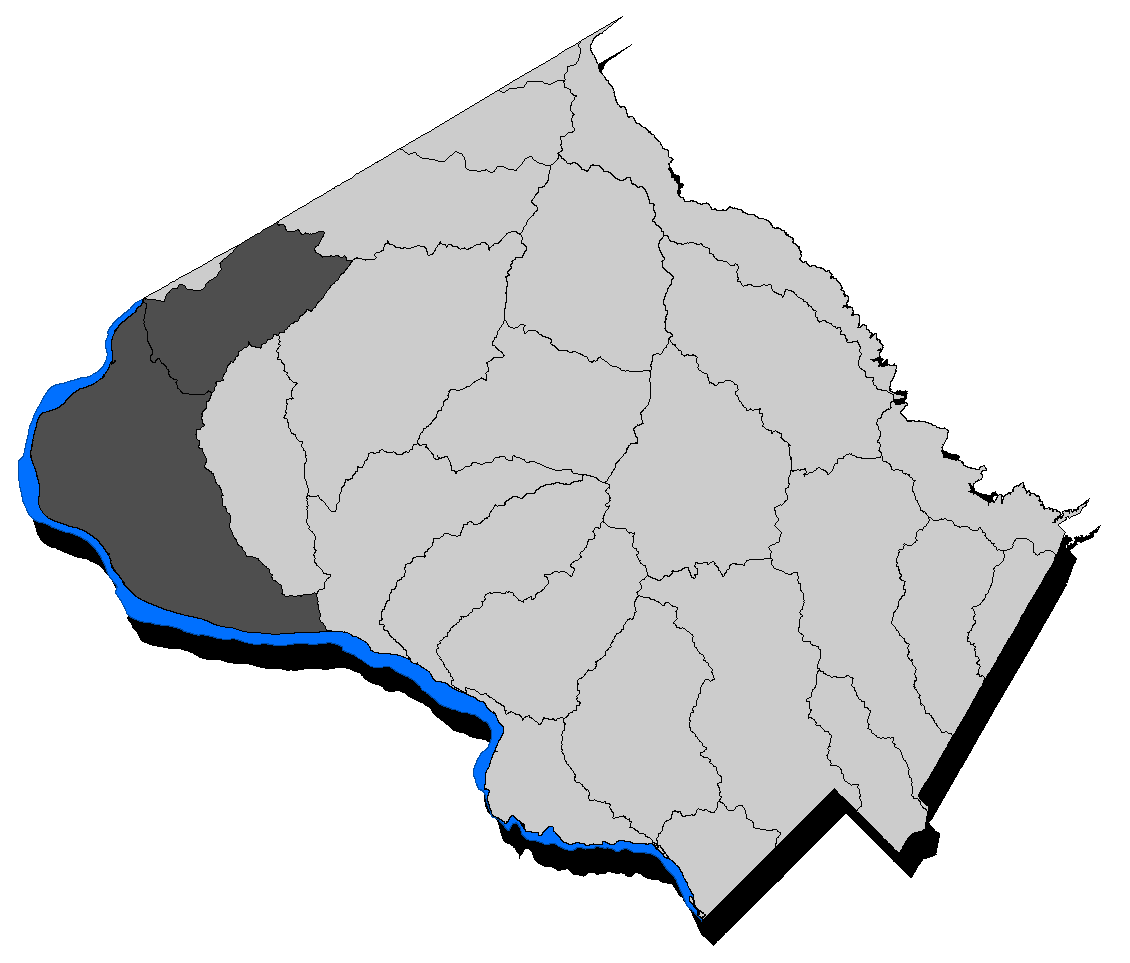 Map of Montgomery County with the Upper Potomac Direct watershed highlighted.