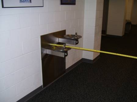 The Water Fountain is Undetectable to a Person Using a Cane