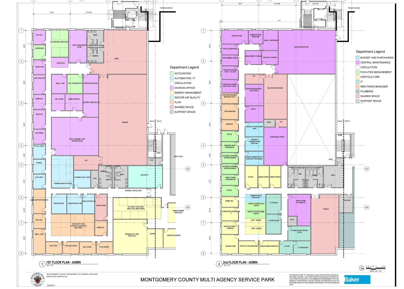 MASP & PSTA Project 4: MCPS and M-NCPPC Facilities Maintenance Depots - MNCPPC-DPM and MCPS-DM Main Building Floor Plans