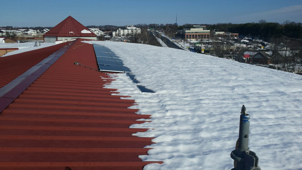 Solar panels on the roof with snow cover
