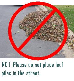 Do not place leaf piles in the street
