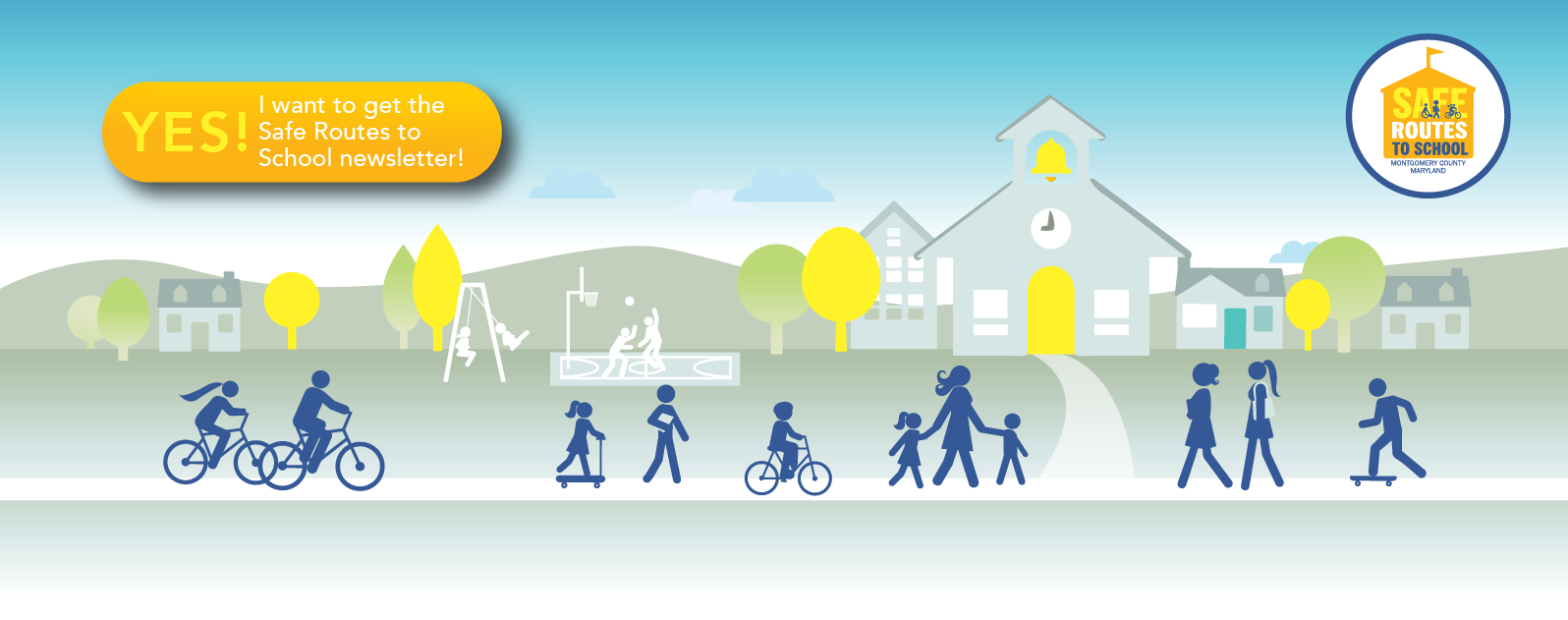 Safe Routes To School BAnner Kids going to school