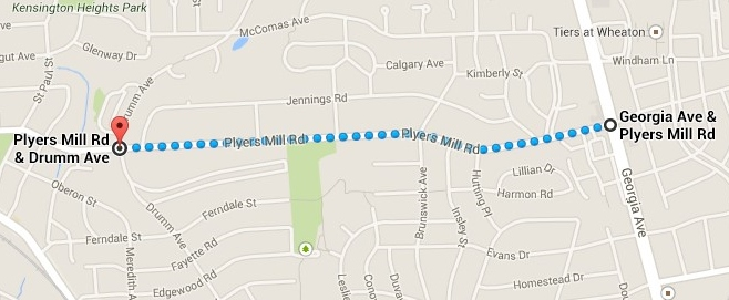 Map of area for Plyers Mill Traffic Calming Project