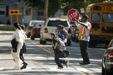 Students Crossing With Crossing Guard