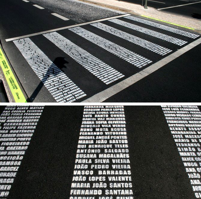Portugal Campaign Memorialize collision victims' names in crosswalk