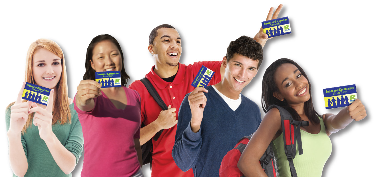 five teens holding Youth Cruiser SmarTrip cards