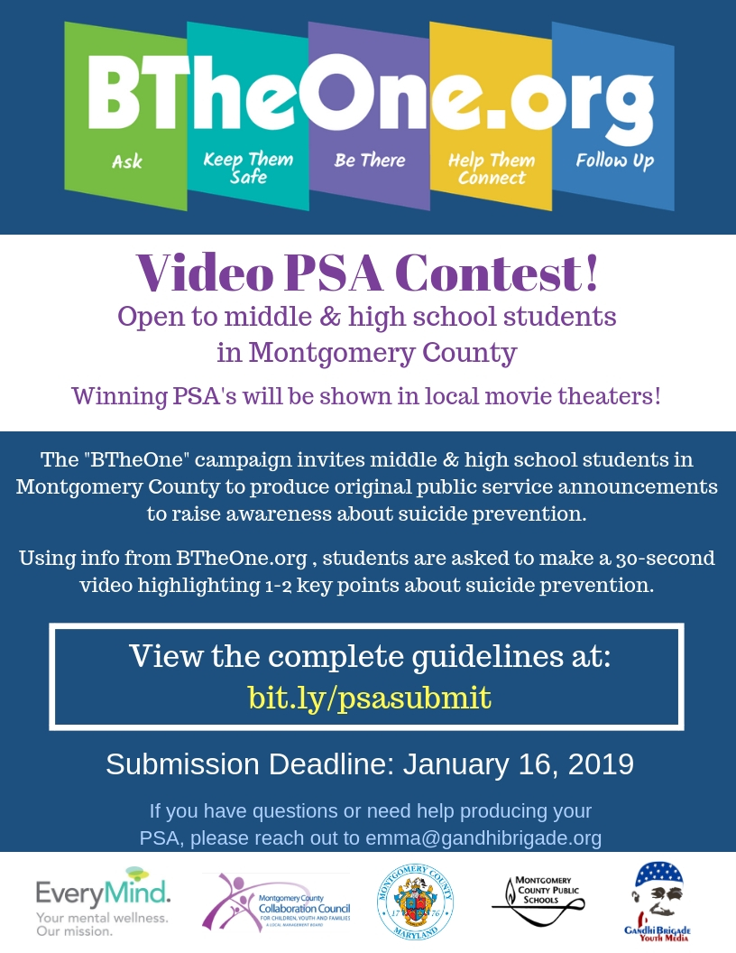 BTheOnePSA contest flyer