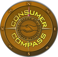Gold compass with consumer compass text inside