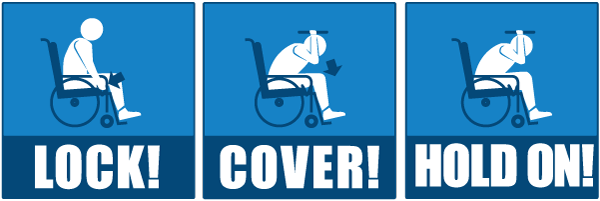 Graphic showing a person using a wheel chair during an earthquake: Locking the wheels, covering and protecting their head and neck, and holding on until the shaking stops.