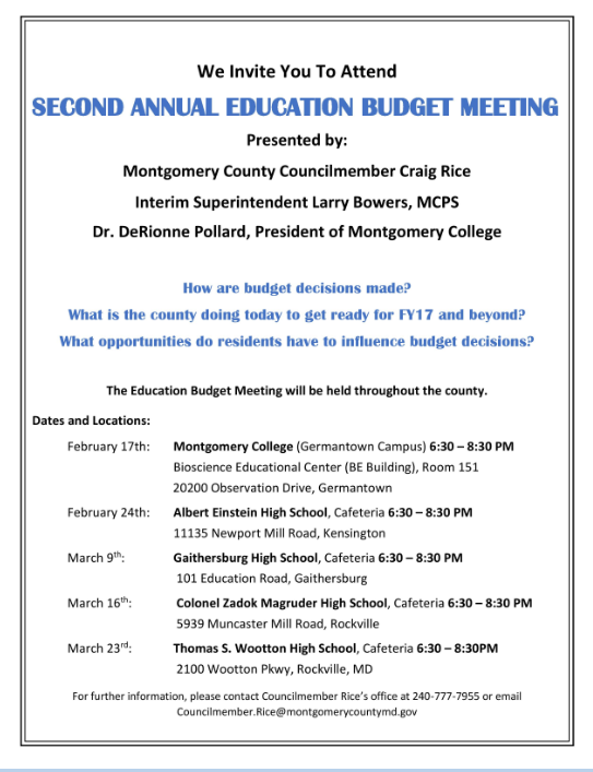 2nd Annual Education Budget Meeting