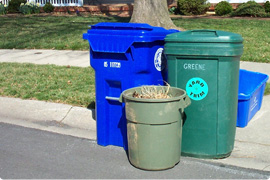 recycling and trash containers at curb in front of house