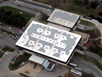 aerial view of solar panels on Transfer Station roof