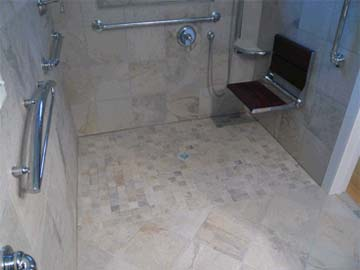 Bathroom with seat in shower