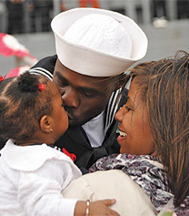 A sailor, a woman and a child