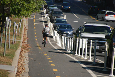 First Separated Bike Lane on Woodglen Drive