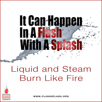 burn prevention week logo - it can happen in a flash with a splash