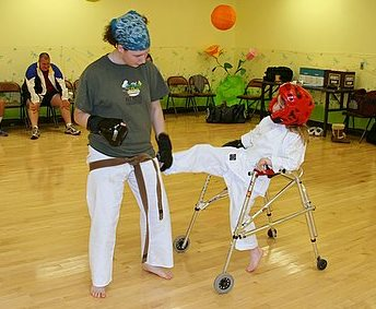 karate student with instructor