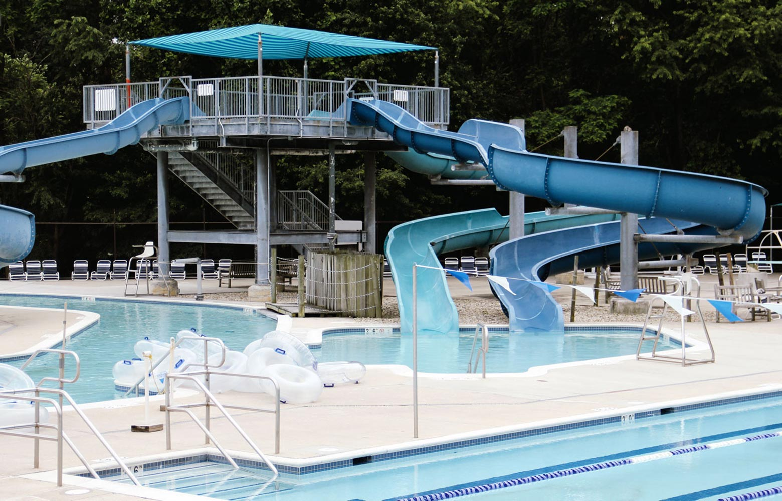 slides at outdoor pool