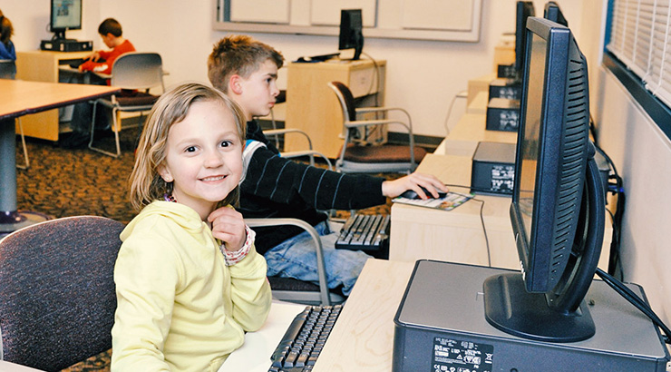 Children working at computers