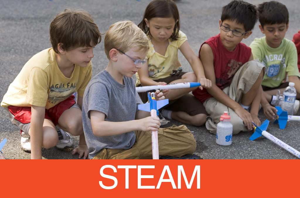 children building foam rockets