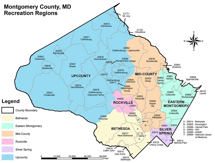 recreation regions in montgomery county