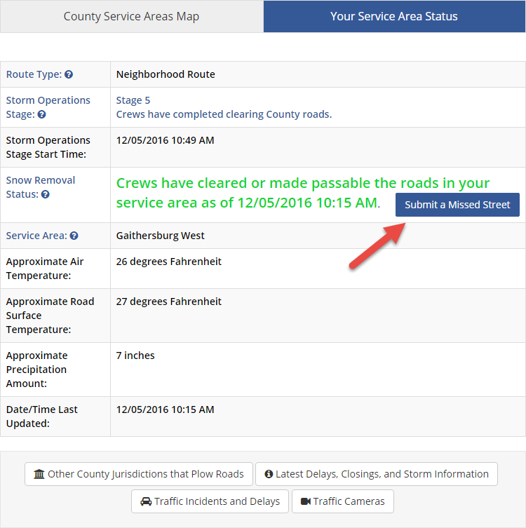 Submit a Missed street button in snow removal status row is highlighted.